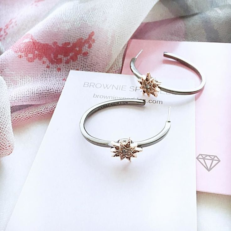 Starry hoops in rose gold and gun metal. One of my favorite combinations