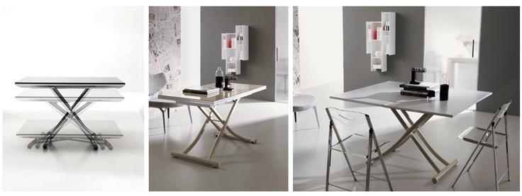 Tavolini trasformabili, struttura in metallo, piano in cristallo - Tino Mariani