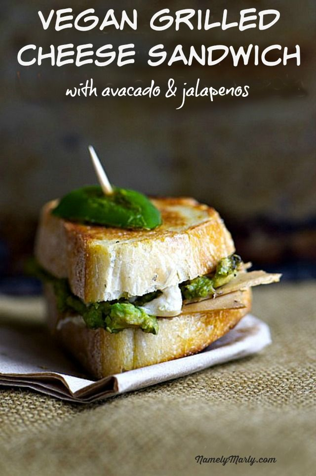 Vegan Grilled Cheese Sandwich with Avocados and Jalapeños - a perfect vegetarian sandwich!