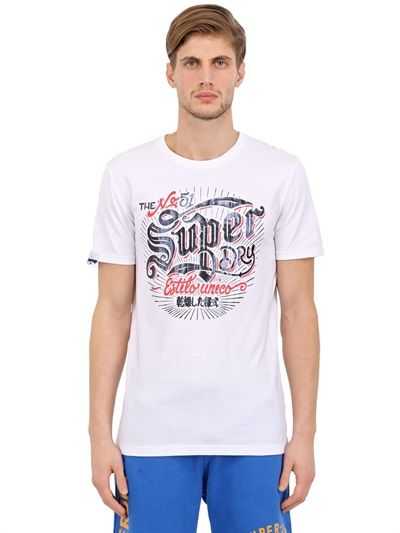 SUPERDRY - TIN TAB PRINTED COTTON T-SHIRT - LUISAVIAROMA - LUXURY SHOPPING WORLDWIDE SHIPPING - FLORENCE