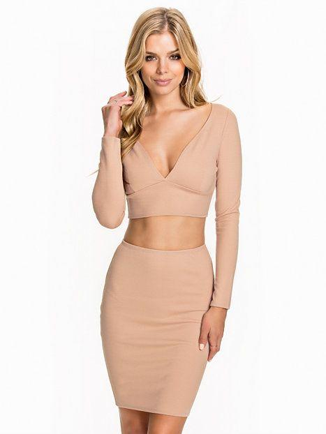 Ls Plain V - Neck Set - Nly One - Beige - Festklänningar - Kläder - Kvinna - Nelly.com