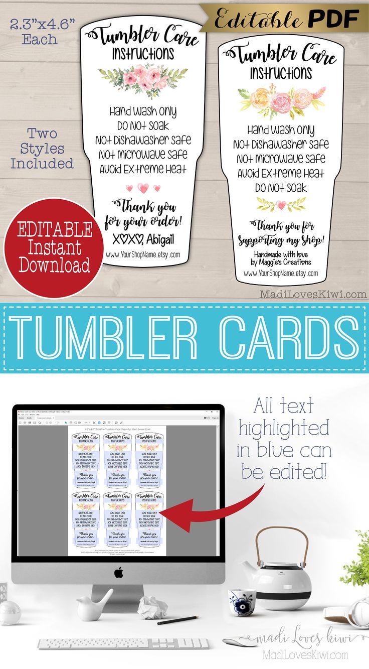 Editable tumbler care card insert printable handmade