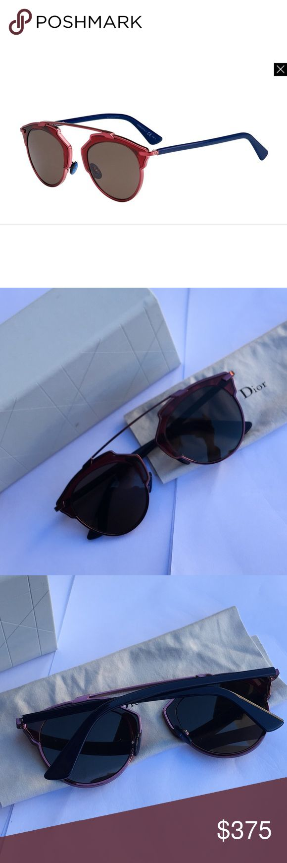"""Christian Dior So Real color block sunglasses Plum Brand new never worn or displayed . Came directly from Neiman Marcus online . Perfect condition . Currently retailing for $515+ tax DETAILS Dior """"So Real"""" acetate colorblock sunglasses. Round lenses. Metal brow bar. Contrast nose pads. Peaked sides. 100% UVA/UVB protection. Made in Italy.. Christian Dior Accessories Sunglasses"""