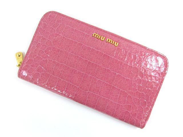 ミュウミュウラウンド長財布/ピンク/GERANIO(金具:ゴールド)/型押しカーフ(5M0506) -ミュウミュウ財布コピー