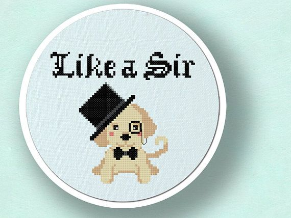 +This item is available for instant digital download*  This counted cross stitch pattern showcases a cute Labrador Retriever puppy with a top hat and