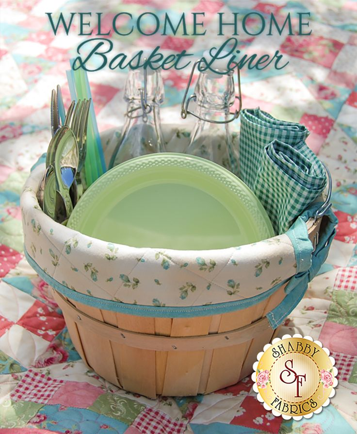 Welcome Home Basket Liner Pattern: Add a sweet touch to your picnics this summer with the Basket Liner designed right here at Shabby Fabrics! These unique Basket Liners offer decorative, yet practical storage with the built-in pockets. Liner measures approximately 6