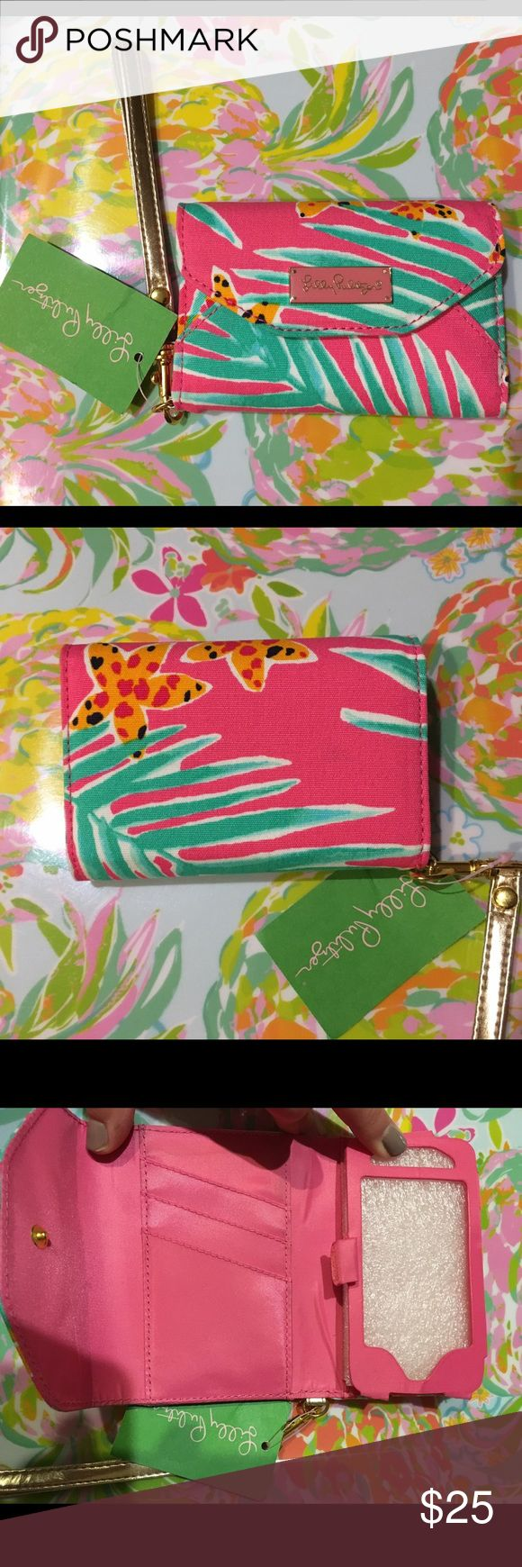 Lilly Pulitzer Ring Me Up Wristlet NWT Lilly Pulitzer wristlet with credit card slots and room for phone. Not sure which size phone, thinking iPhone 4 or non-Apple phone. Cute as just a wristlet even if you don't use the phone slot! ☺️🌴 Wristlet is approx. 5 inches long. Lilly Pulitzer Bags Clutches & Wristlets