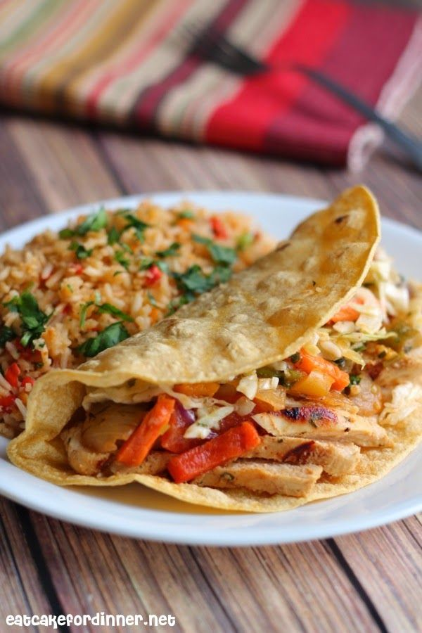 Cilantro Lime Chicken Fajitas with Mexican Slaw