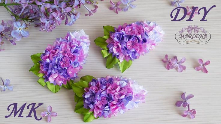 Barrettes con flores de color lila  de cintas de raso. Kanzashi MK / DIY