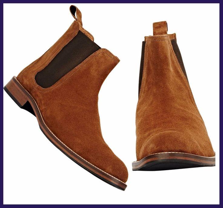 Handmade Trendy Fashion Chelsea Tan Suede Boots For Men Casual Boot Chelsea Boot #Handmade #Chelsea