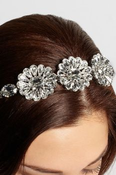 2014 Brand Show Fashion Designer Baroque  Full Clear Crytal Rhinestone Flower gem hair bands  Luxurious Bridal  Wedding Jewelry