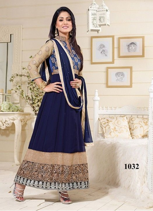 Hina Khan Designer Navy Blue Long Anarkali Suit