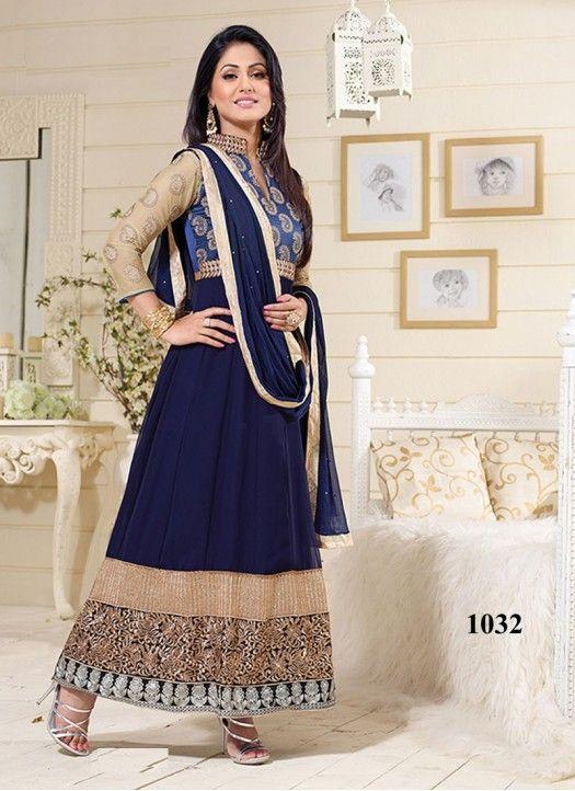 Hina Khan Designer Navy Blue Long Anarkali Suit