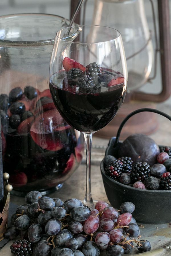BLACK SANGRIA.... 1 bottle Apothic Dark,  2 cups organic blackberries-washed,  4 black plums-wash/slice,  2 cups black grapes-wash,  1 cup sparkling water....  Directions: Add everything into a pitcher and mix with a large spoon. Let it sit in the refrigerator for 1 to 2 hours. The longer it sits the darker the plums becomes. Best to keep sangria in the fridge. Enjoy!!!