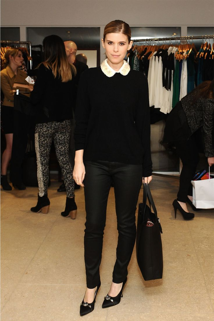 Who: Kate Mara Why It Works: Mara's all-black ensemble is so sartorially on point, it hurts. Wearing an Everlane sweater, James Jeans, and toting an Everlane bag, the actress includes a pop of white on her collar and gives her look just a hint of preppy style. We love!