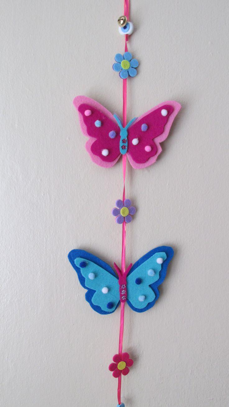 felt, felt butterfly, keçe, keçe kelebek, ağaç süsü, tree decoration