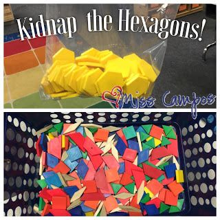 Kindergarten Math - Building Hexagons with other 2D Shapes like rhombi, trapezoids, and triangles.