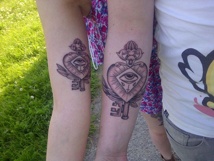 matching 'key to my heart' tattoo