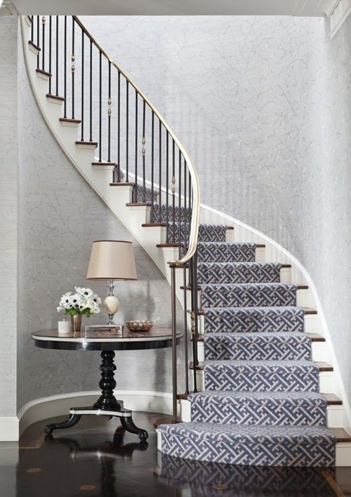 I like the dark runner with lighter wallpaper. In our house the runner should be taupe and I would prefer a more traditional design on the carpet, less geometric.
