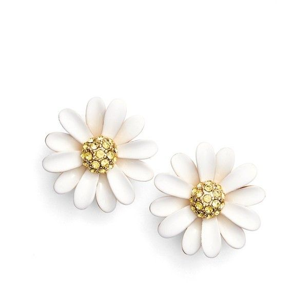 Kate Spade New York Dazzling Daisies Stud Earrings 58 Liked On Polyvore Featuring Jewelry White Multi Sparkly In