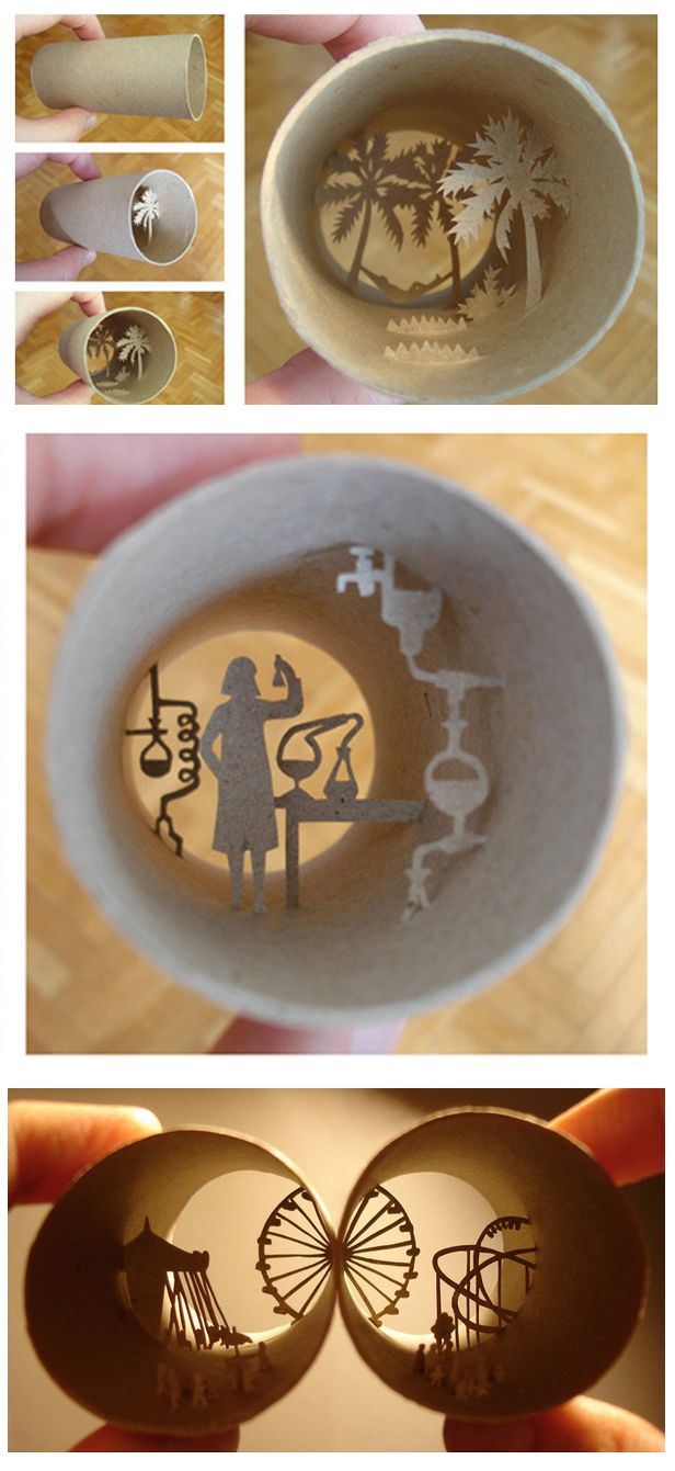 Artist Anastassia Elias creates interesting, diorama-like scenes in the less than two-inch diameter of a cardboard toilet paper tube. The intricate artwork doubles as a unique shadow box. Adding light enhances the scene.