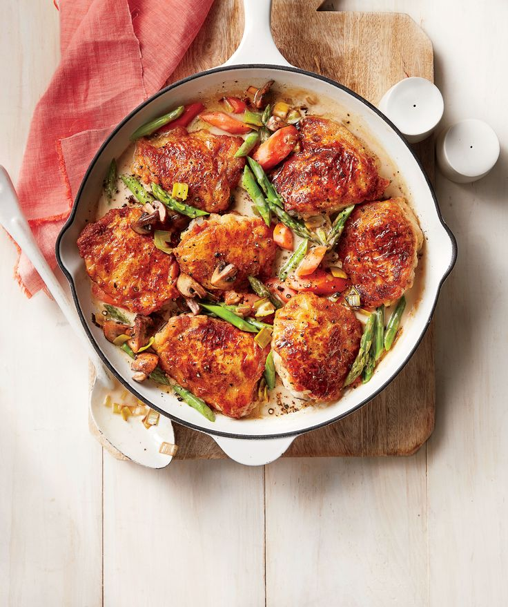A comforting stew of chicken and vegetables in a velvety pan sauce hits the spot on a cool spring evening. Best of all, it comes together in 45 minutes, and you'll only have to use a single skillet. A fricassee is a cross between a sauté and a stew, but you'll just call it delicious. Chicken Fricassee with Spring Vegetables - Southern Living