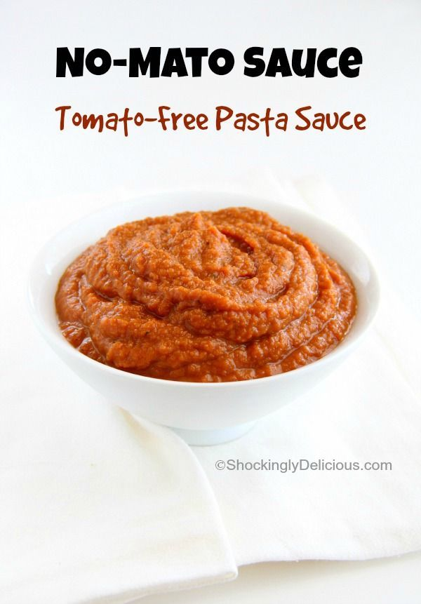 No-Mato Sauce (Tomato-Free Pasta Sauce) | ShockinglyDelicious.com.  For those who avoid tomatoes because of GERD, or can't eat nightshades.  #SecretRecipeClub #tomato-free #allergycooking