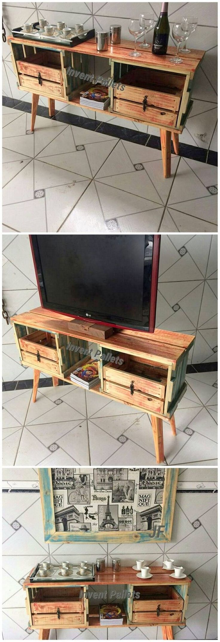 You will probably be finding this creation of wood pallet so eye-catching and peacefully attractive looking. Well, this creation is dedicated designed in the artistic flavors of being the wood pallet TV table stand with the drawers. It is moderate in shape formations where the rustic use of wood pallet is the main attraction.