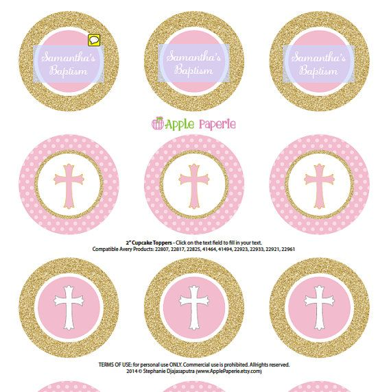 Baptism cupcake toppers / Girl Baptism cupcake by TinyConfetti