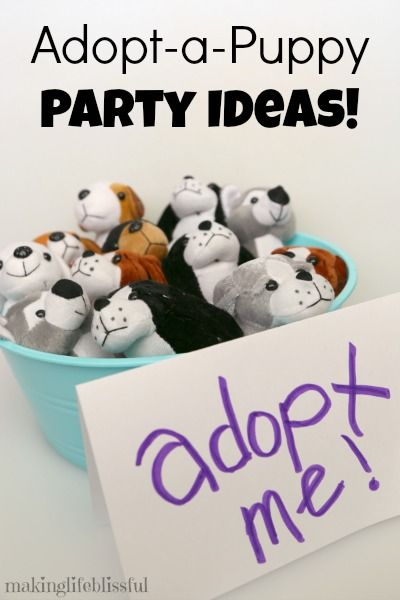 Making Life Blissful: Adopt-a-Puppy Party ideas! Includes free printables for your puppy picnic. My kids loved this adopt-a-pet party!