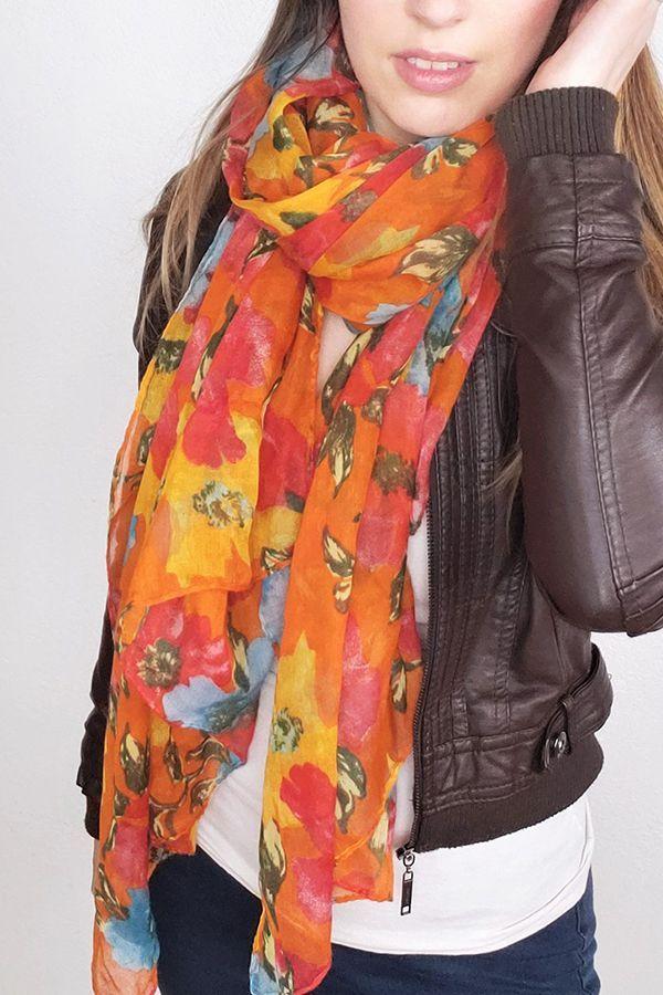 7703209d6e677 Vintage fashion scarf with a bright floral pattern. #vintage #scarf  #fashion #fall #summer #spring #bohemian #scarf #scarves#scarve #tudung # silk #silkscarf ...