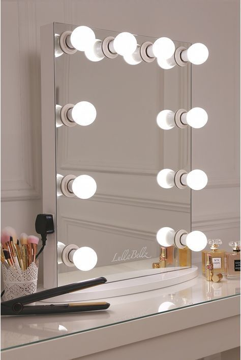 Simplistic Crisp White Finish Embedded Hollywood Light Up Mirror