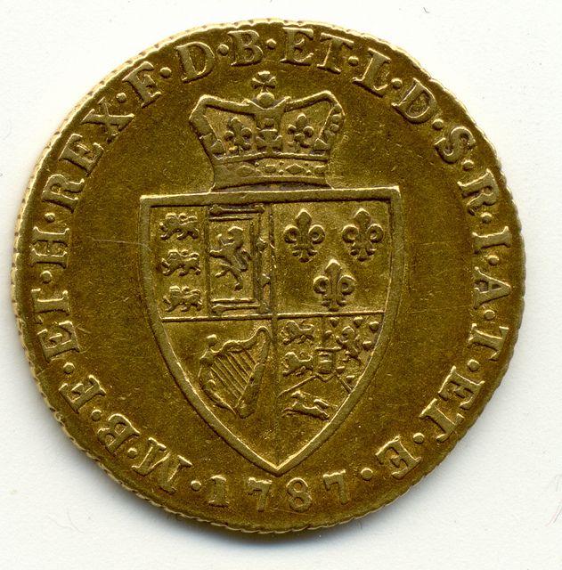 1787 UNITED KINGDOM, KING GEORGE III, GOLD, FULL GUINEA, COIN