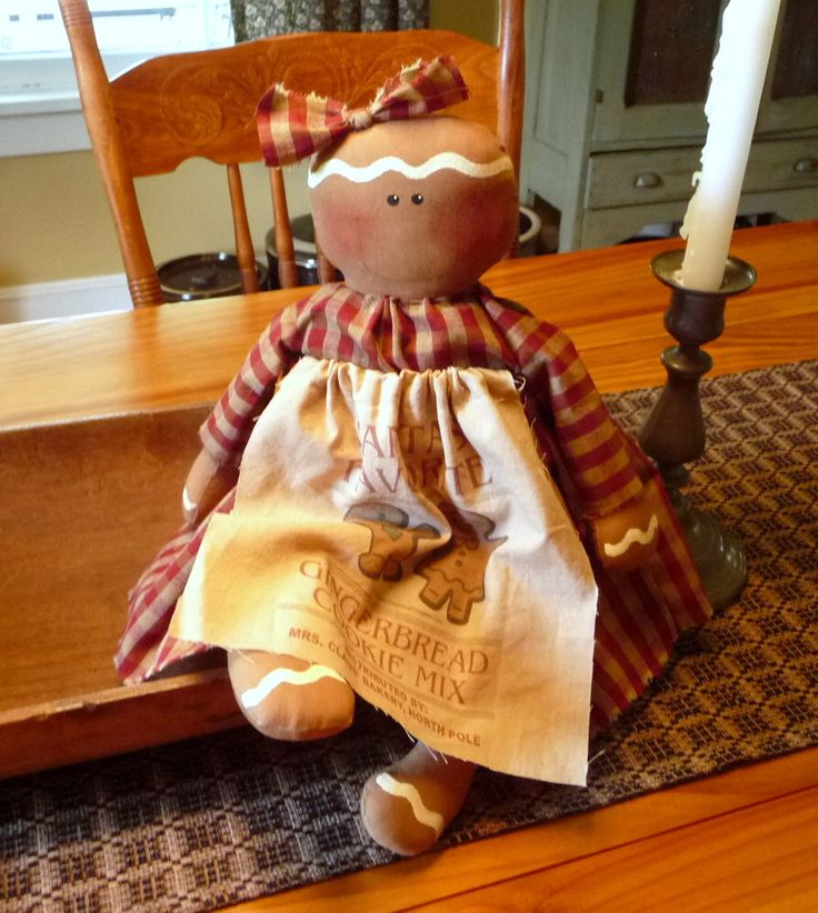 Primitive Gingerbread doll prim raggedy ginger by ahlcoopedup on Etsy https://www.etsy.com/listing/127370548/primitive-gingerbread-doll-prim-raggedy