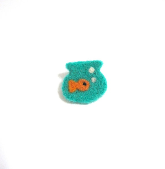 fishbowl felted brooch. goldfish brooch. by TomboDesigns on Etsy, $20.00