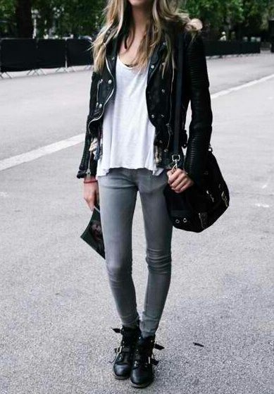 black leather jacket, white loose tank top, light grey ...