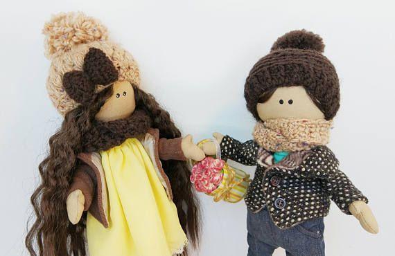 Puppet couple Jim & Jenny Textile-Rag Doll Bambole Cloth