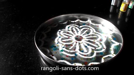 Different method to draw rangoli on water for Diwali , sprinkle solvent based water colours, it forms a film , we can then drawn a rangoli easily on the film