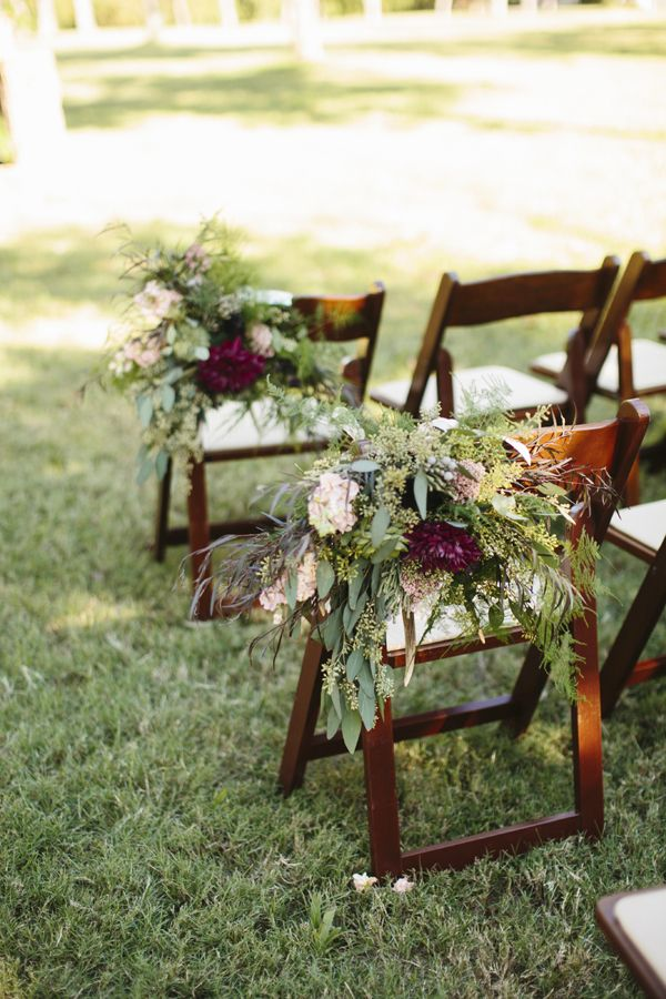 eucalyptus chair garlands | Sara & Rocky #wedding