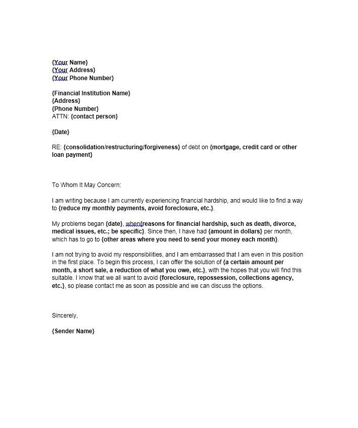 Hardship Letter Template 18 sherwrght@aol Pinterest - loss mitigation specialist sample resume