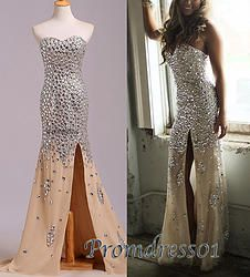 #promdress01 prom dresses, 2015 sparkly sweetheart neckline strapless champagne chiffon side slit prom dress for teen, ball gown for #prom2k15, occasion dress -> www.promdress01.c... #coniefox #2016prom
