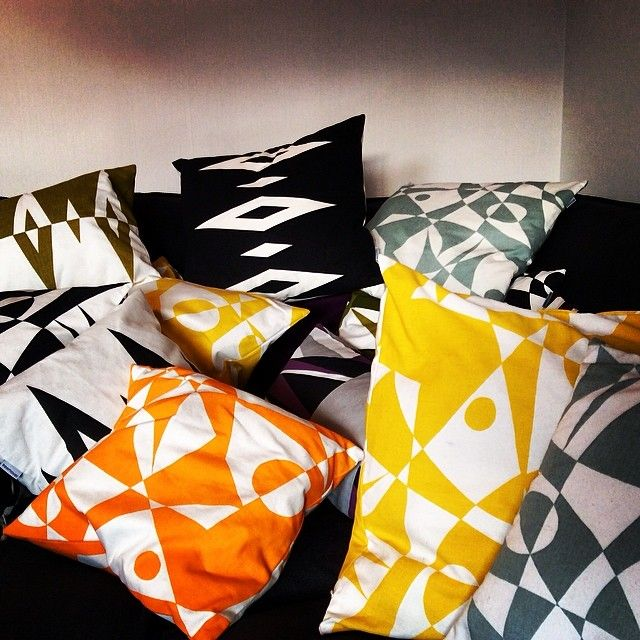 A colorful FREEMOVER.se cushion ocean - Regatta™ and Prisma™ patterned eco-textiles by designer: Maria Lovisa Dahlberg. @Latasha Weinmann