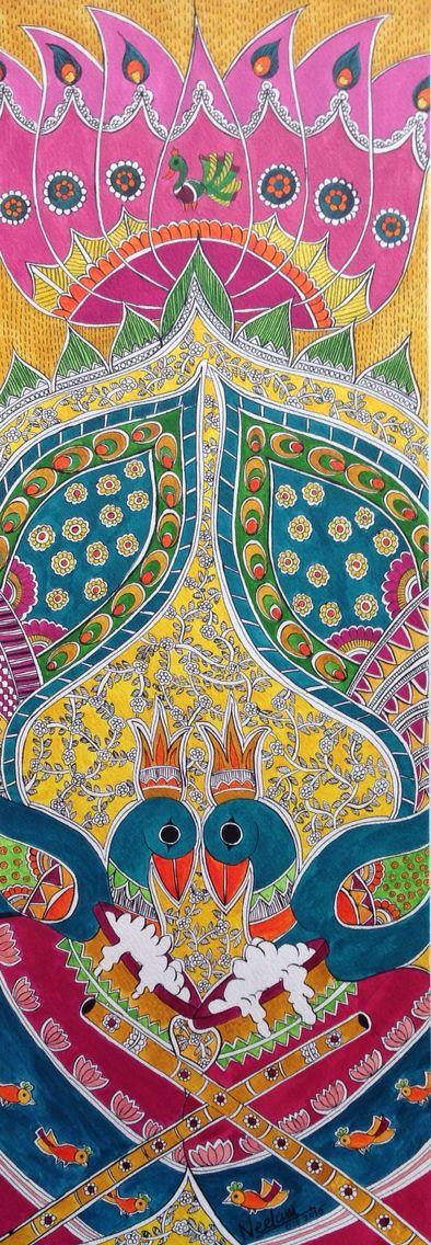 Madhubani peacock n lotus
