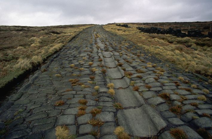 Roman road at Blackstone Edge in Lancashire, England