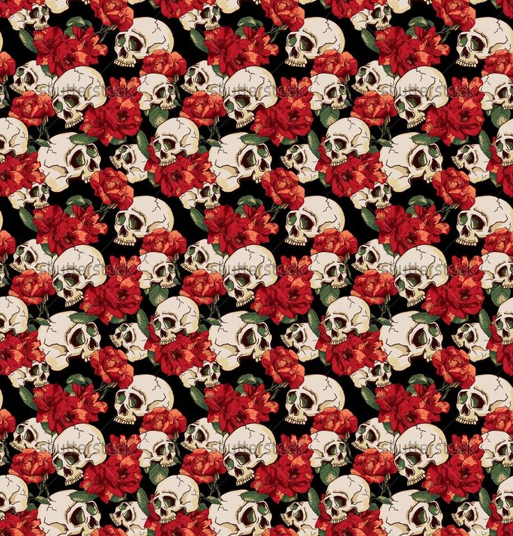 ... and Flowers Seamless Background Day of The Dead, Vector Vintage Card
