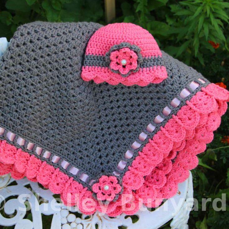 Granny Square with Ribbon [Baby Crochet Blanket Set]