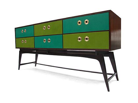 1950s Tola Wood & Green Tonal Console