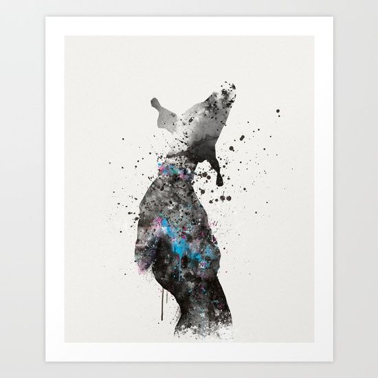 Collect your choice of gallery quality Giclée, or fine art prints custom trimmed by hand in a variety of sizes with a white border for framing. #abstract #watercolor #splatter #german #pointer #blackandwhite #dog #pet