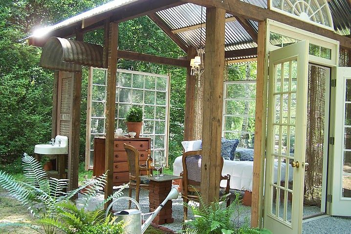 outdoor room from recycled doors and windowsideas tara