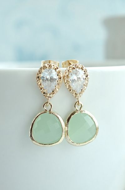 Light Mint Glass Pear Gold Earrings
